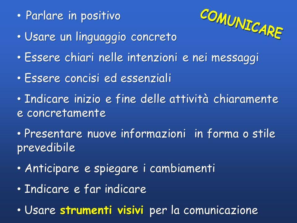 COMUNICARE Parlare in positivo Usare un linguaggio concreto