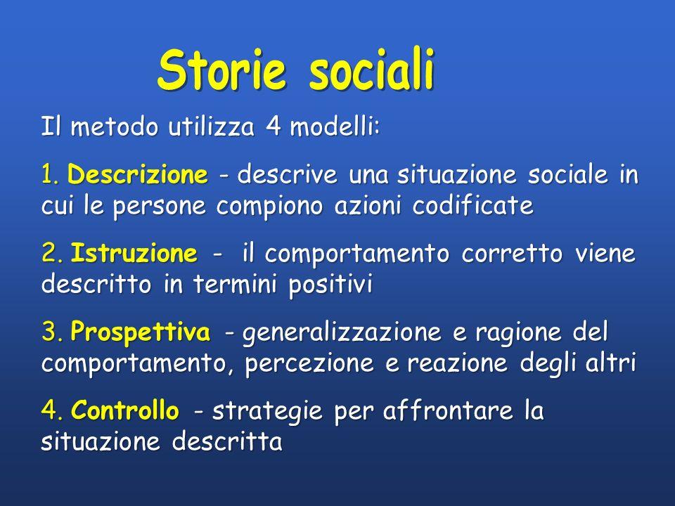 Storie sociali Il metodo utilizza 4 modelli: 1. Descrizione - descrive una situazione sociale in cui le persone compiono azioni codificate.