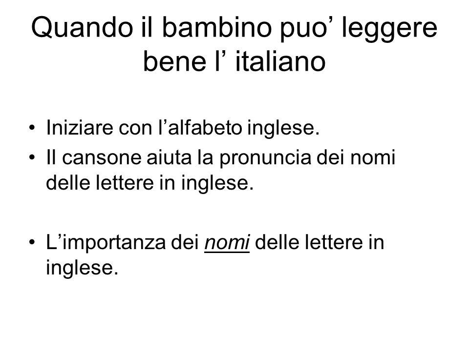Quando il bambino puo' leggere bene l' italiano