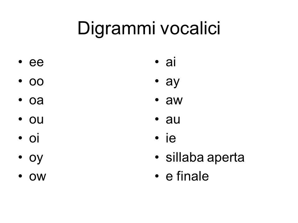 Digrammi vocalici ee oo oa ou oi oy ow ai ay aw au ie sillaba aperta