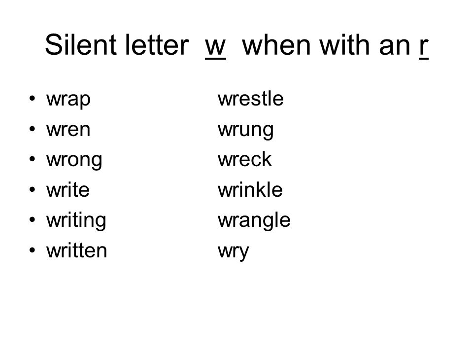 Silent letter w when with an r