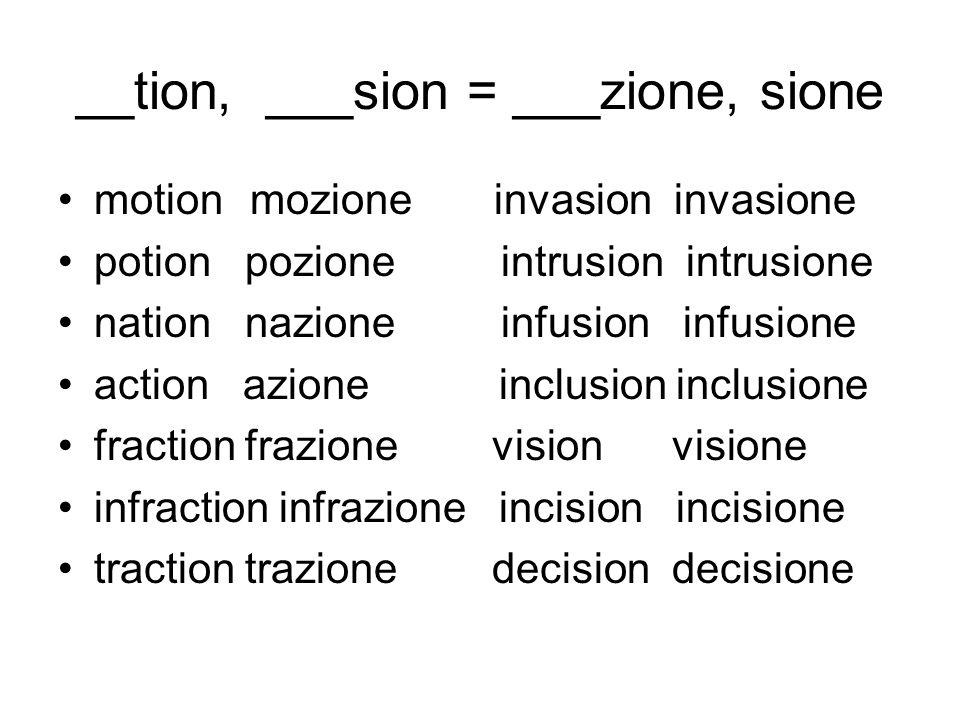 __tion, ___sion = ___zione, sione
