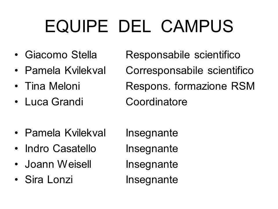EQUIPE DEL CAMPUS Giacomo Stella Responsabile scientifico