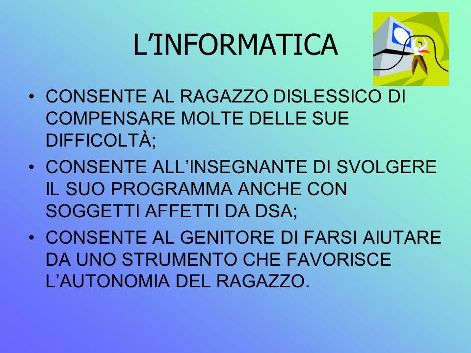 L'INFORMATICA CONSENTE AL RAGAZZO DISLESSICO DI COMPENSARE MOLTE DELLE SUE DIFFICOLTÀ;