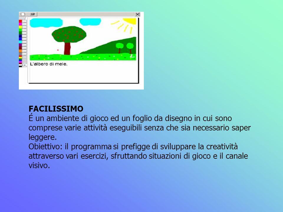 FACILISSIMO É un ambiente di gioco ed un foglio da disegno in cui sono comprese varie attività eseguibili senza che sia necessario saper leggere.