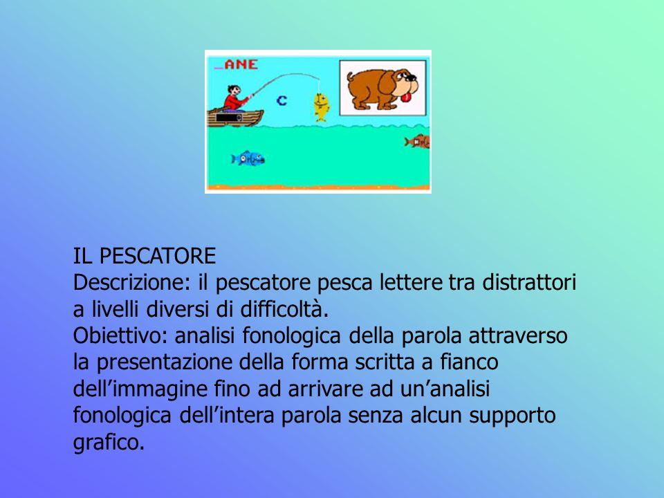 IL PESCATORE Descrizione: il pescatore pesca lettere tra distrattori a livelli diversi di difficoltà.