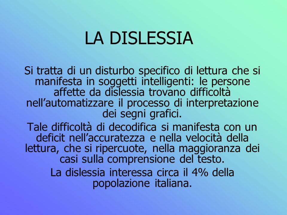 La dislessia interessa circa il 4% della popolazione italiana.