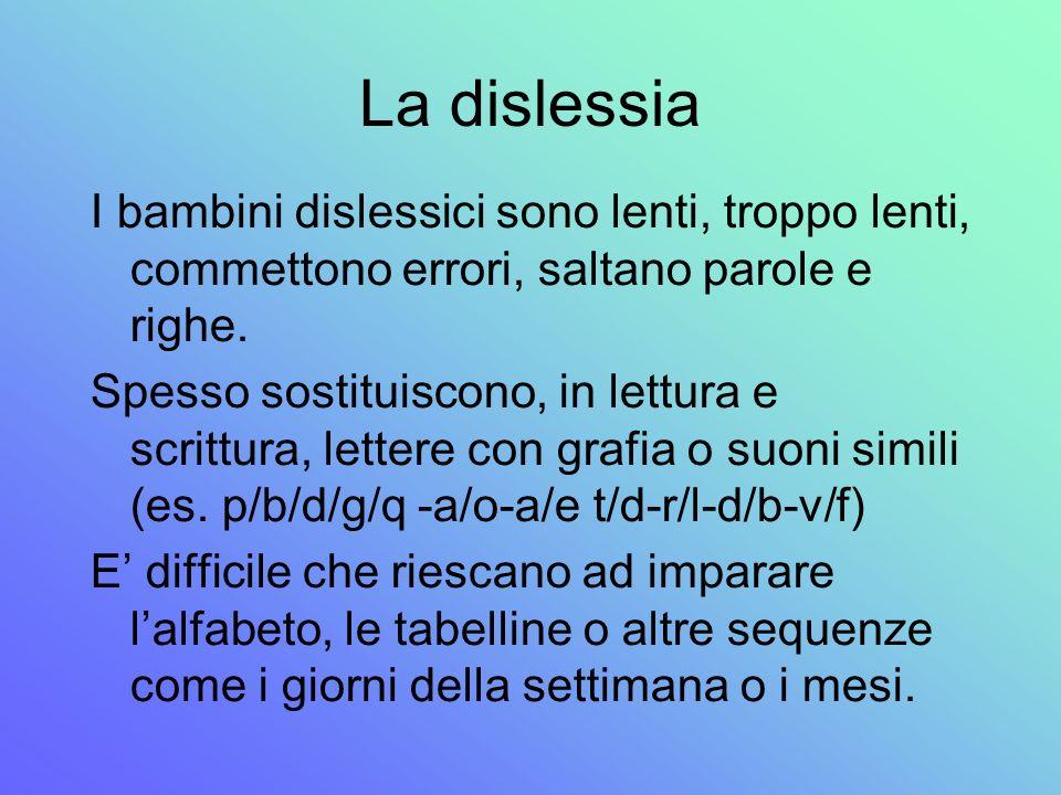 La dislessia I bambini dislessici sono lenti, troppo lenti, commettono errori, saltano parole e righe.