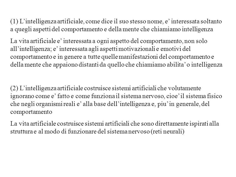 (1) L'intelligenza artificiale, come dice il suo stesso nome, e' interessata soltanto a quegli aspetti del comportamento e della mente che chiamiamo intelligenza
