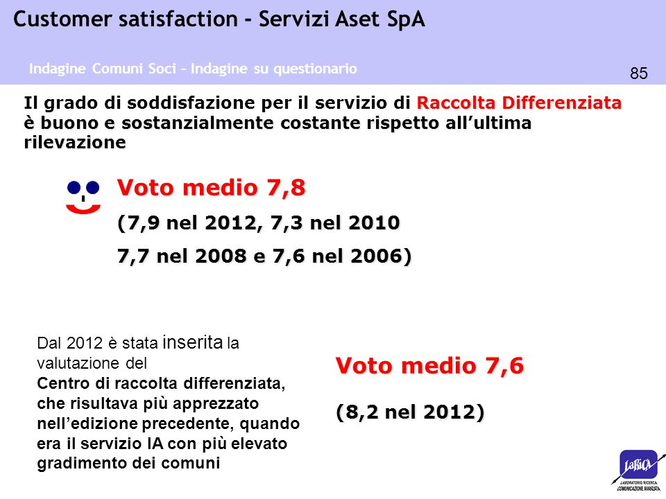 Voto medio 7,8 Voto medio 7,6 (7,9 nel 2012, 7,3 nel 2010