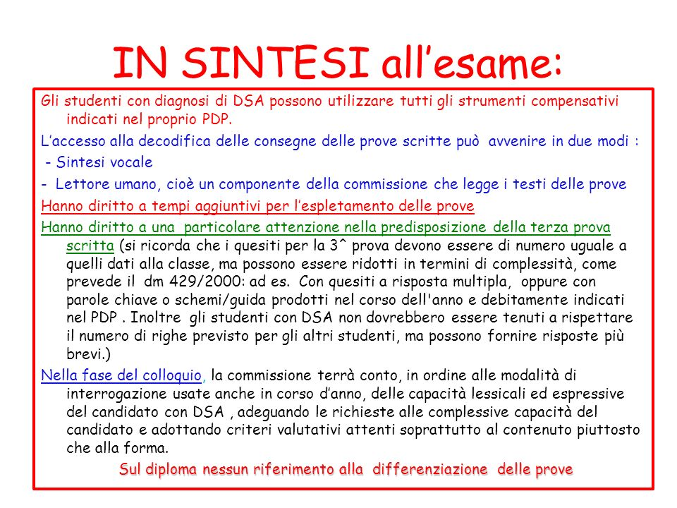 IN SINTESI all'esame: