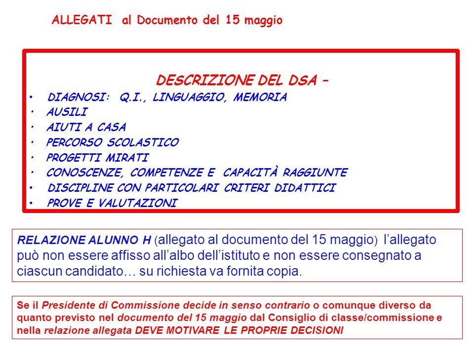 DESCRIZIONE DEL DSA – ALLEGATI al Documento del 15 maggio