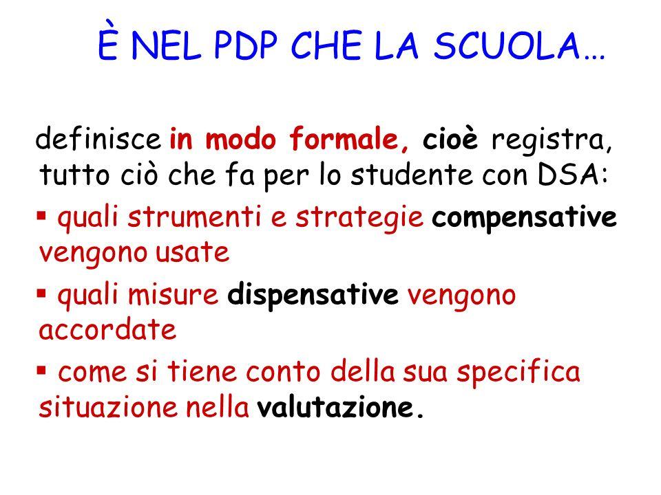 È NEL PDP CHE LA SCUOLA… definisce in modo formale, cioè registra, tutto ciò che fa per lo studente con DSA:
