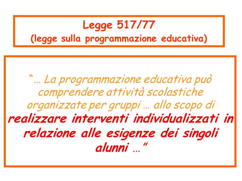(legge sulla programmazione educativa)