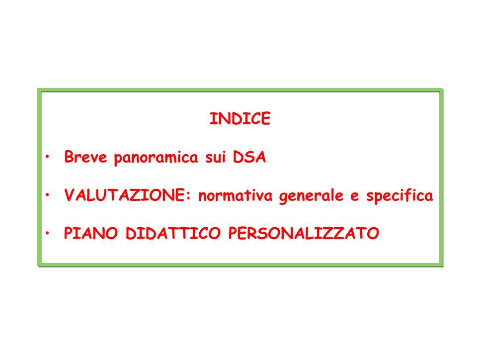 INDICE Breve panoramica sui DSA. VALUTAZIONE: normativa generale e specifica.