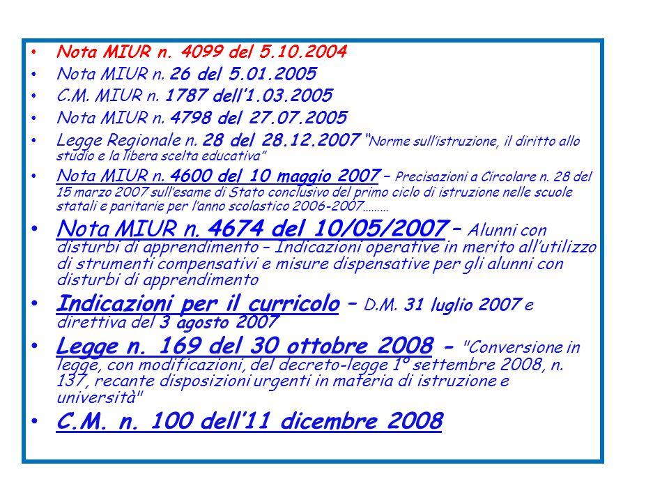 Nota MIUR n. 4099 del 5.10.2004Nota MIUR n. 26 del 5.01.2005. C.M. MIUR n. 1787 dell'1.03.2005. Nota MIUR n. 4798 del 27.07.2005.