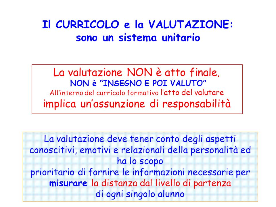 Il CURRICOLO e la VALUTAZIONE: sono un sistema unitario