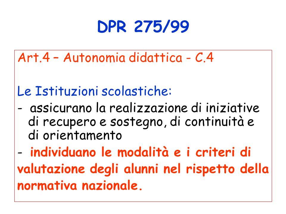 DPR 275/99 Art.4 – Autonomia didattica - C.4