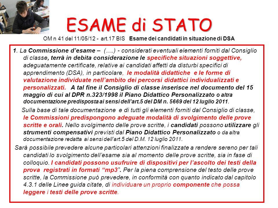 ESAME di STATO OM n 41 del 11/05/12 - art