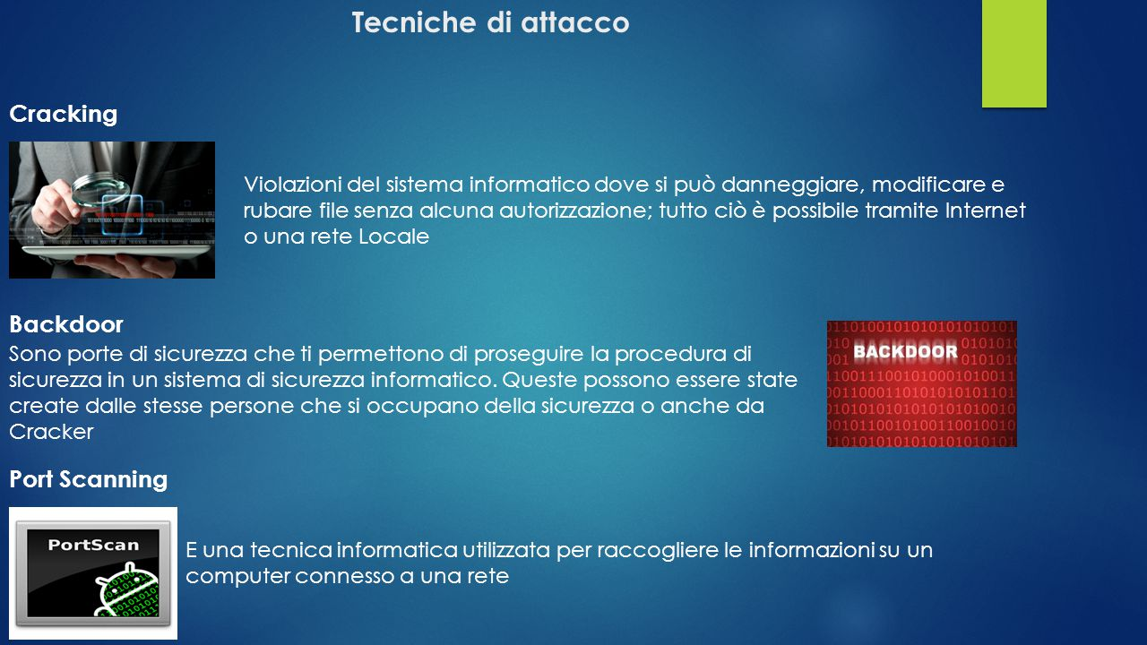 Tecniche di attacco Cracking Backdoor Port Scanning