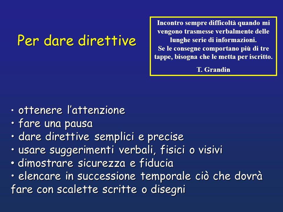 Per dare direttive fare una pausa dare direttive semplici e precise