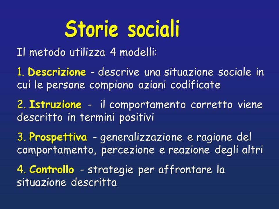 Storie socialiIl metodo utilizza 4 modelli: 1. Descrizione - descrive una situazione sociale in cui le persone compiono azioni codificate.
