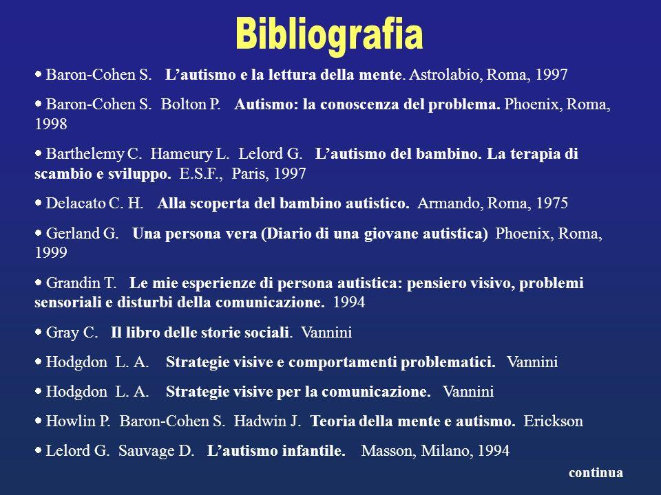 Bibliografia Baron-Cohen S. L'autismo e la lettura della mente. Astrolabio, Roma, 1997.