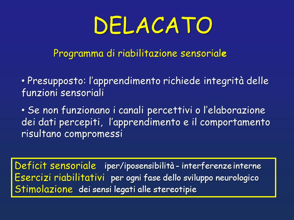 DELACATO Programma di riabilitazione sensoriale
