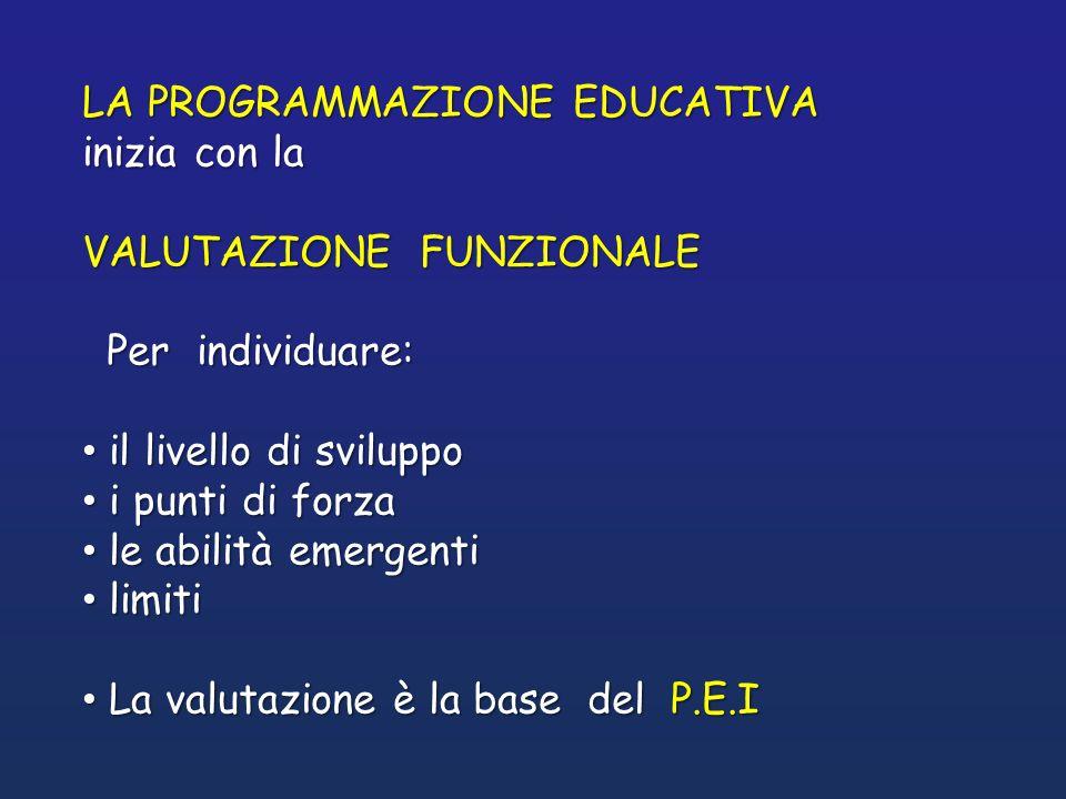 LA PROGRAMMAZIONE EDUCATIVA