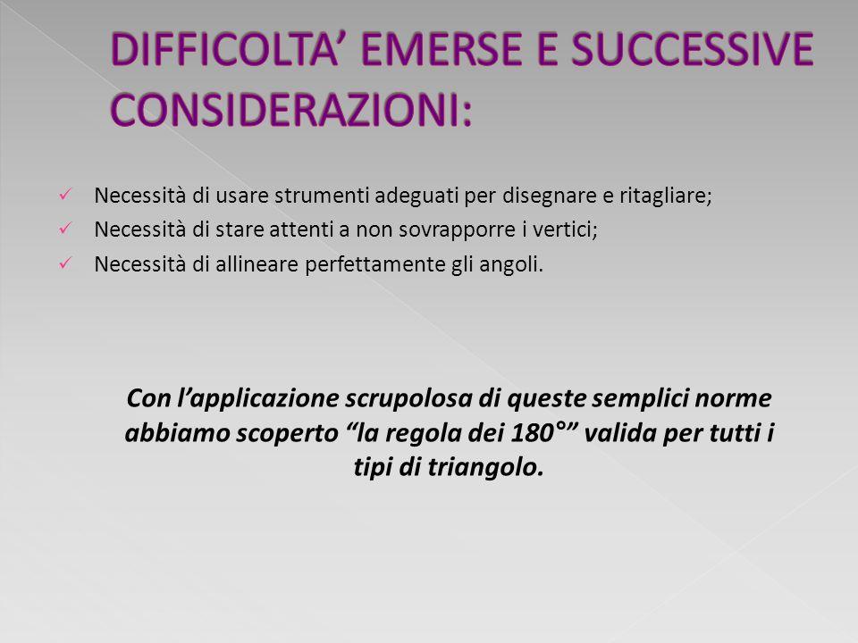 DIFFICOLTA' EMERSE E SUCCESSIVE CONSIDERAZIONI: