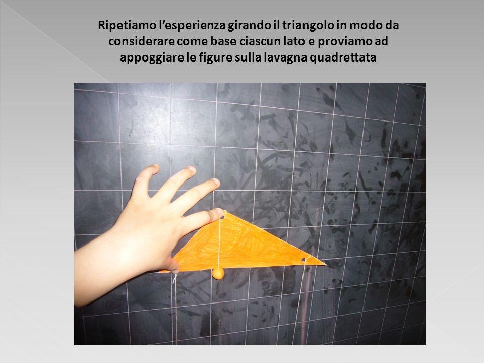 Ripetiamo l'esperienza girando il triangolo in modo da considerare come base ciascun lato e proviamo ad appoggiare le figure sulla lavagna quadrettata