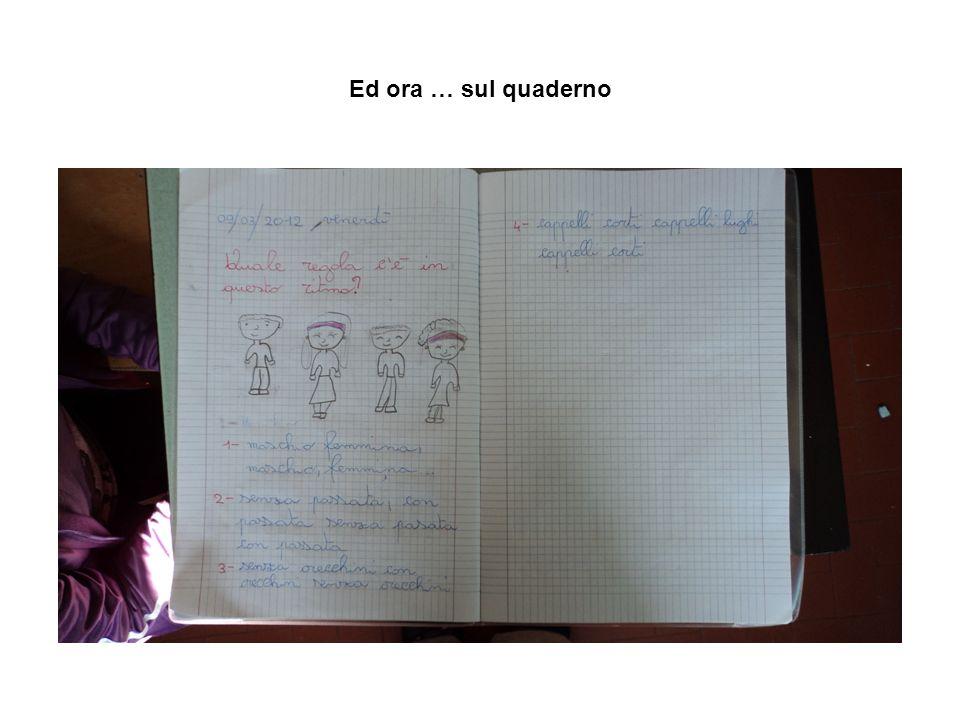Ed ora … sul quaderno