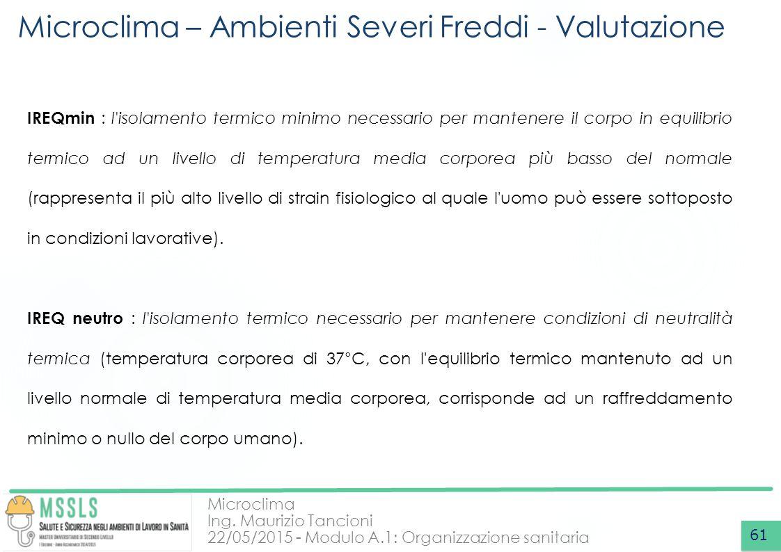 Microclima – Ambienti Severi Freddi - Valutazione
