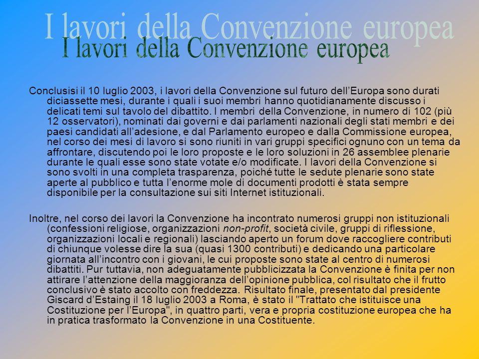 I lavori della Convenzione europea