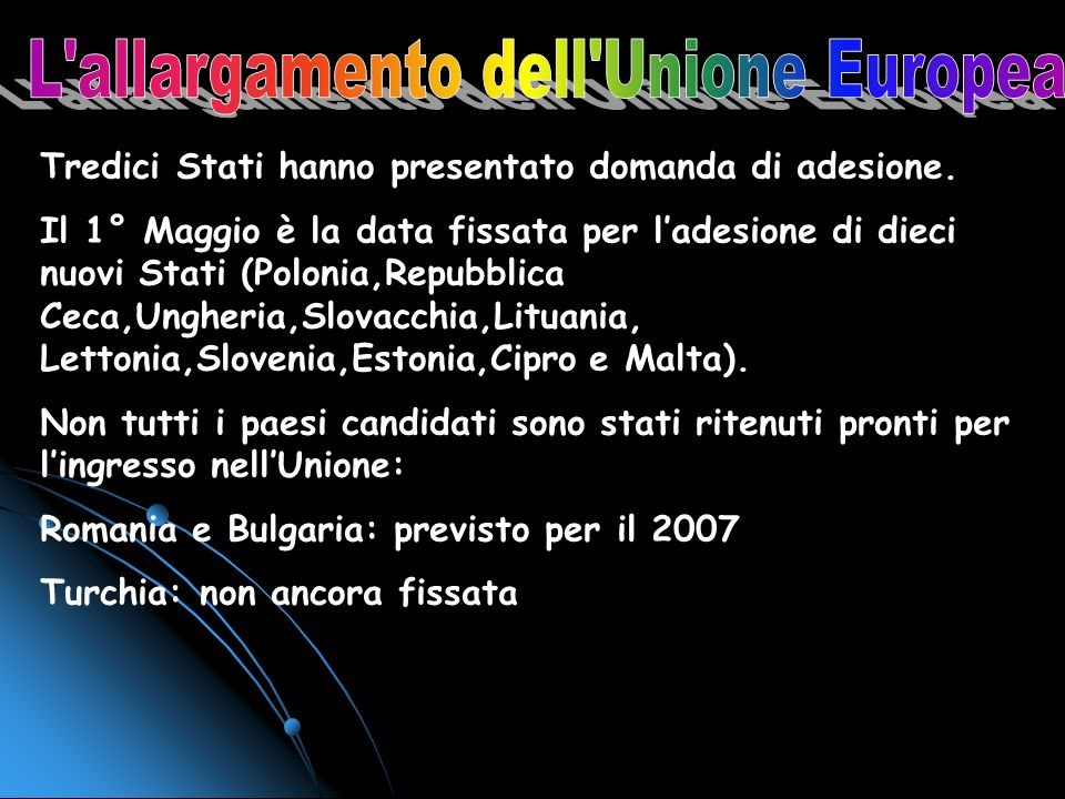 L allargamento dell Unione Europea