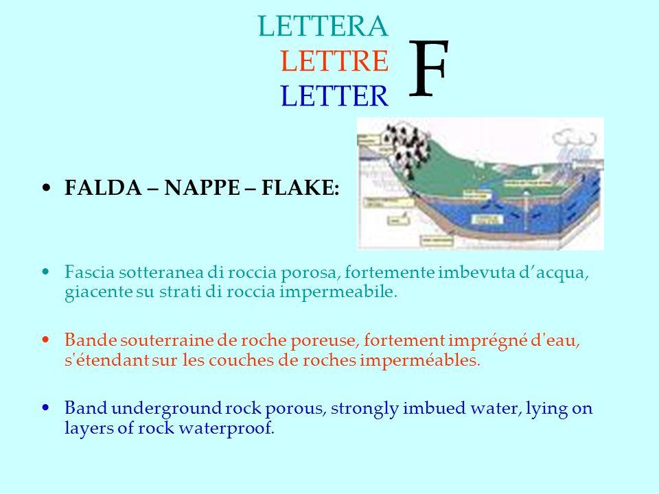 F LETTERA LETTRE LETTER FALDA – NAPPE – FLAKE: