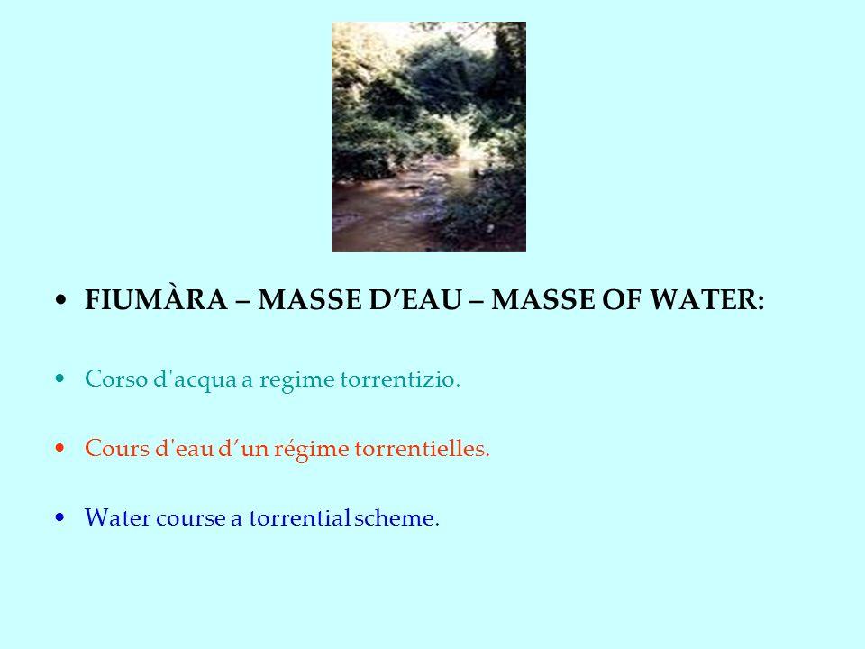 FIUMÀRA – MASSE D'EAU – MASSE OF WATER:
