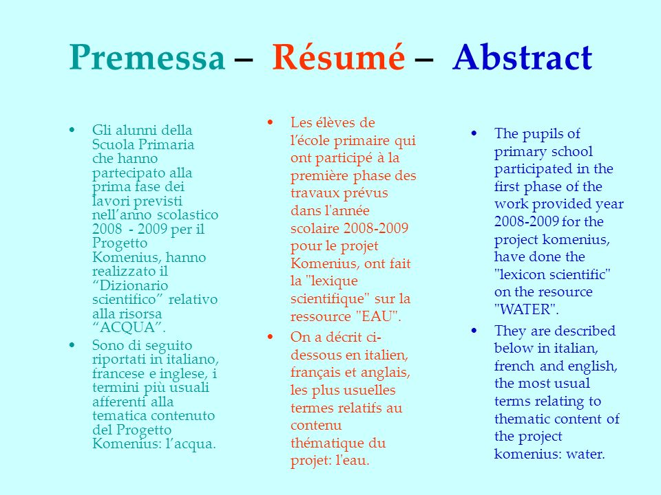 Premessa – Résumé – Abstract