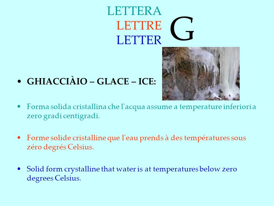 G LETTERA LETTRE LETTER GHIACCIÀIO – GLACE – ICE: