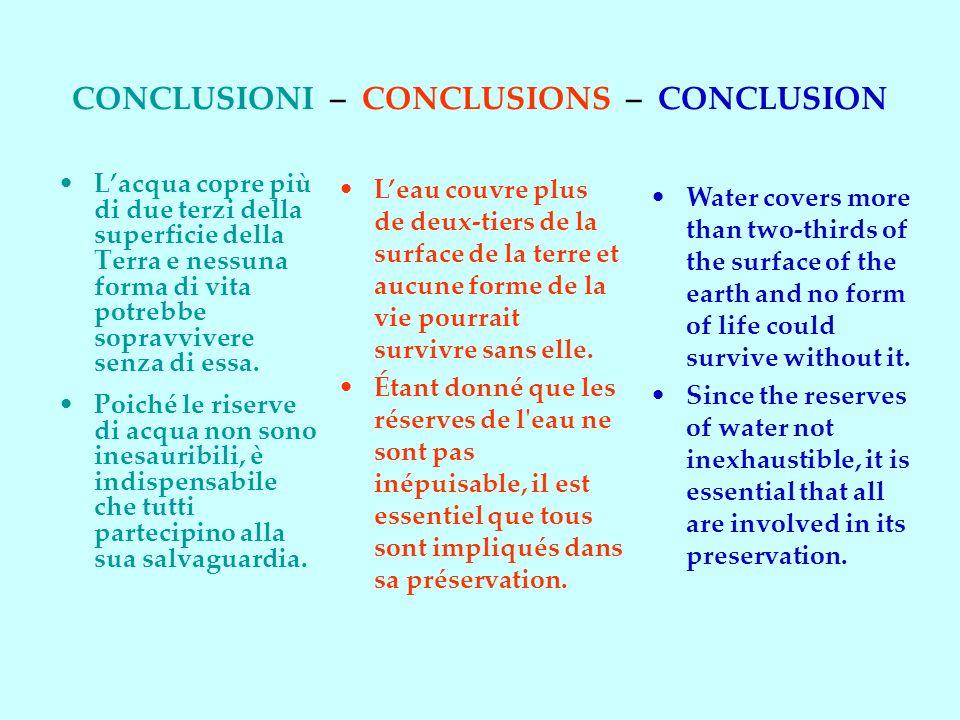 CONCLUSIONI – CONCLUSIONS – CONCLUSION
