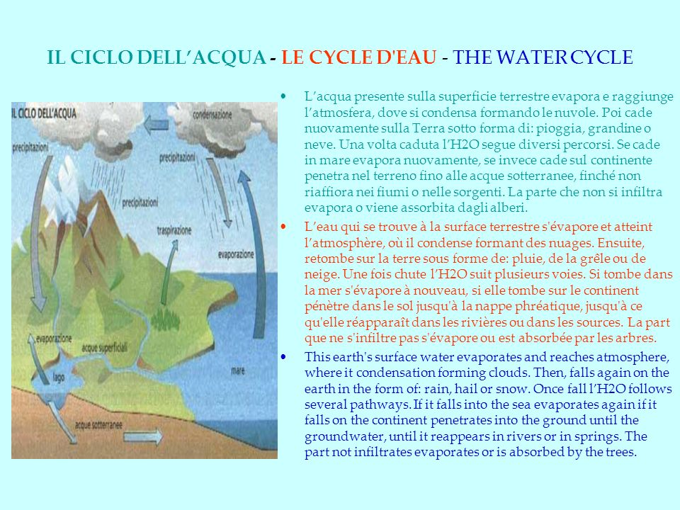 IL CICLO DELL'ACQUA - LE CYCLE D EAU - THE WATER CYCLE