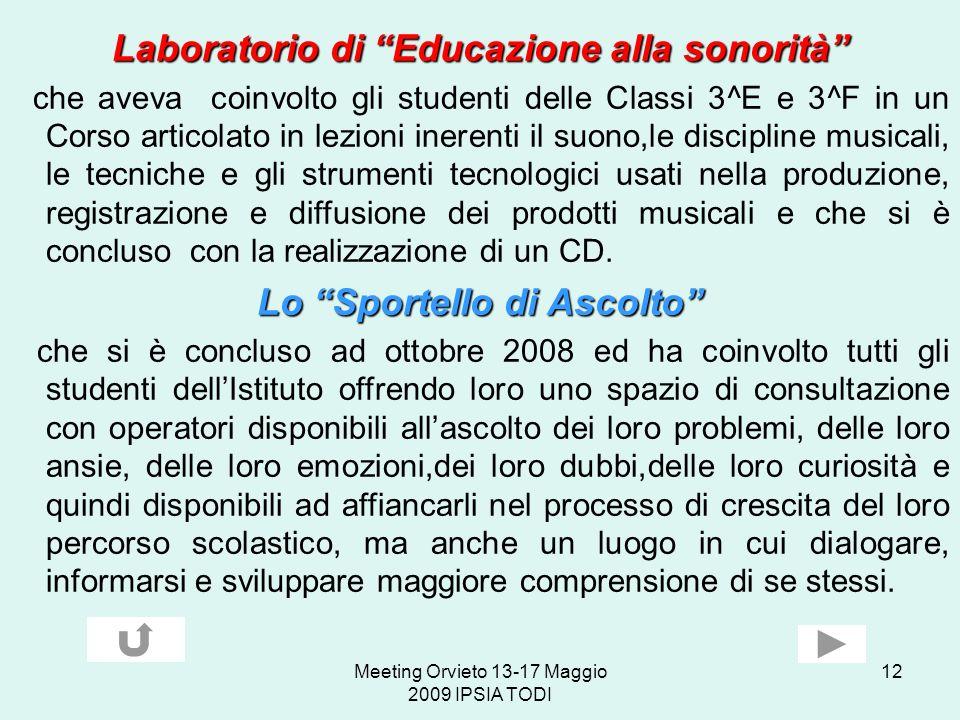 Laboratorio di Educazione alla sonorità Lo Sportello di Ascolto
