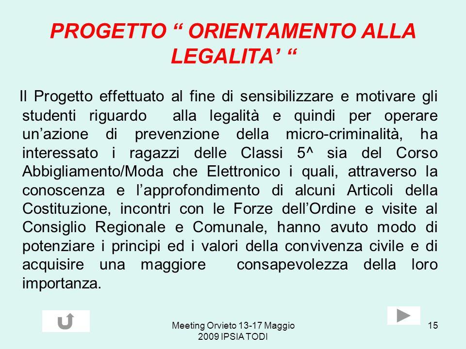 PROGETTO ORIENTAMENTO ALLA LEGALITA'