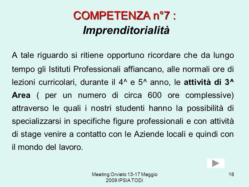 COMPETENZA n°7 : Imprenditorialità