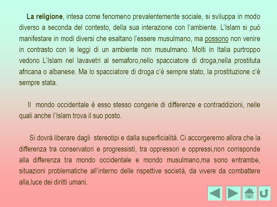 La religione, intesa come fenomeno prevalentemente sociale, si sviluppa in modo diverso a seconda del contesto, della sua interazione con l'ambiente. L'Islam si può manifestare in modi diversi che esaltano l'essere musulmano, ma possono non venire in contrasto con le leggi di un ambiente non musulmano. Molti in Italia purtroppo vedono L'Islam nel lavavetri al semaforo,nello spacciatore di droga,nella prostituta africana o albanese. Ma lo spacciatore di droga c'è sempre stato, la prostituzione c'è sempre stata.
