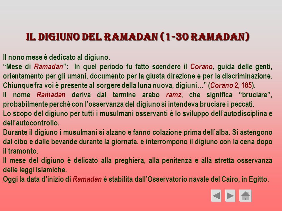 Il digiuno del Ramadan (1-30 Ramadan)
