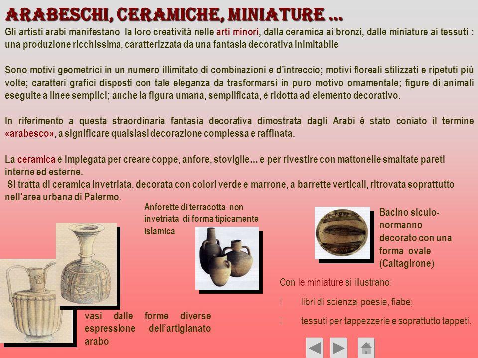 Arabeschi, ceramiche, miniature …