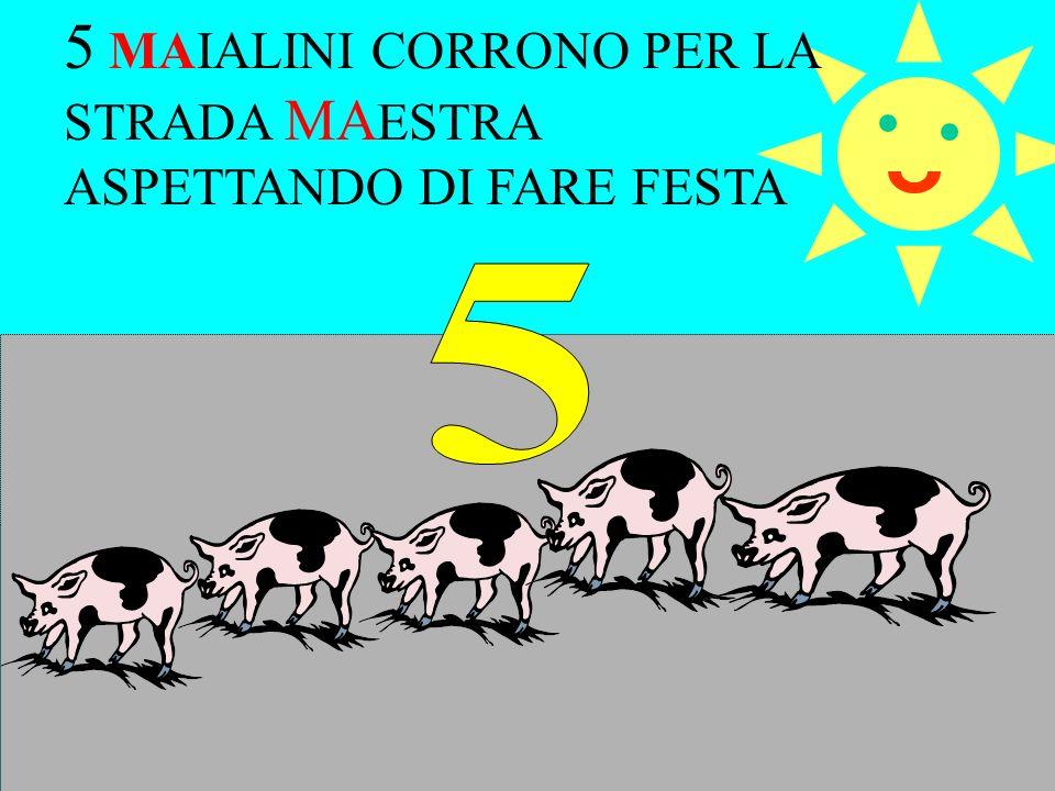 5 MAIALINI CORRONO PER LA STRADA MAESTRA ASPETTANDO DI FARE FESTA