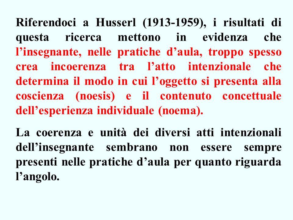 Riferendoci a Husserl (1913-1959), i risultati di questa ricerca mettono in evidenza che l'insegnante, nelle pratiche d'aula, troppo spesso crea incoerenza tra l'atto intenzionale che determina il modo in cui l'oggetto si presenta alla coscienza (noesis) e il contenuto concettuale dell'esperienza individuale (noema).