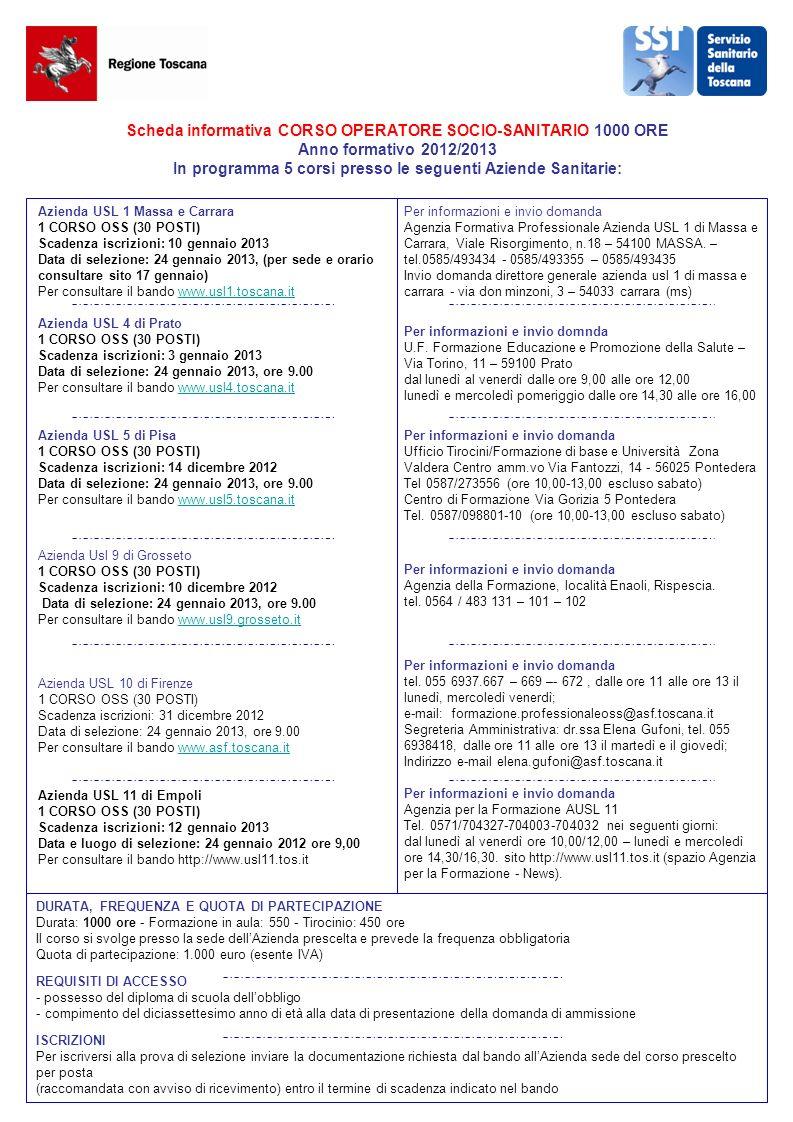 Scheda informativa CORSO OPERATORE SOCIO-SANITARIO 1000 ORE